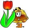 Hard Hat Cartoon Character With a Spring Tulip clipart