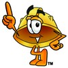 Hard Hat Cartoon Character Pointing Upwards clipart