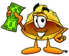 Hard Hat Cartoon Character Holding Cash clipart