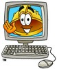 Hard Hat Cartoon Character In a Computer Screen clipart