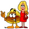 Hard Hat Cartoon Character Talking To a Blond Woman clipart