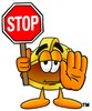 Hard Hat Cartoon Character Holding a Stop Sign clipart