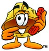 Hard Hat Cartoon Character Holding a Phone clipart