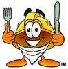 Hard Hat Cartoon Character With Eating Utensils clipart