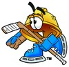 Hard Hat Cartoon Character Playing Ice Hockey clipart