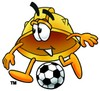 Hard Hat Cartoon Character Playing Soccer clipart