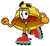 Hard Hat Cartoon Character Roller Blading clipart