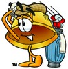 Hard Hat Cartoon Character Golfing clipart