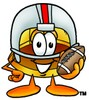 Hard Hat Cartoon Character Playing Football clipart