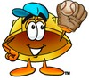Hard Hat Cartoon Character Playing Baseball clipart