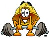 Hard Hat Cartoon Character Lifting Weights clipart