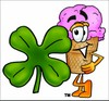 Ice Cream Cartoon Character With a Four Leaf Clover clipart