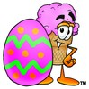 Ice Cream Cartoon Character With an Easter Egg clipart