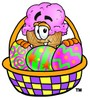 Ice Cream Cartoon Character With Easter Eggs In a Basket clipart