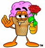 Ice Cream Cartoon Character Holding a Red Rose clipart