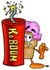 Ice Cream Cartoon Character With a Stick of Dynamite clipart