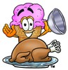 Ice Cream Cartoon Character Serving a Thanksgiving Turkey clipart