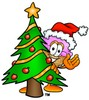 Ice Cream Cartoon Character With a Christmas Tree clipart