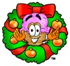 Ice Cream Cartoon Character With a Christmas Wreath clipart