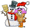 Ice Cream Cartoon Character With a Snowman clipart
