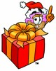Ice Cream Cartoon Character With a Christmas Gift clipart
