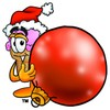 Ice Cream Cartoon Character Holding a Christmas Ornament clipart