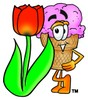 Ice Cream Cartoon Character With a Spring Tulip clipart