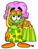 Ice Cream Cartoon Character In Yellow Snorkel Gear clipart