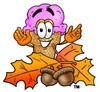 Ice Cream Cartoon Character With Autumn Leaves and Acorns clipart