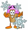 Ice Cream Cartoon Character With Snowflakes clipart