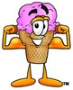 Ice Cream Cartoon Character Flexing His Muscles clipart