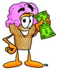 Ice Cream Cartoon Character Holding Cash clipart