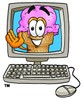 Ice Cream Cartoon Character In a Computer Screen clipart
