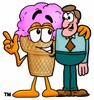 Ice Cream Cartoon Character Talking To a Businessman clipart