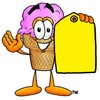 Ice Cream Cartoon Character Holding a Yellow Price Tag clipart