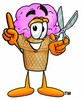Ice Cream Cartoon Character Holding Scissors clipart