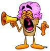 Ice Cream Cartoon Character Screaming Into a Megaphone clipart