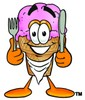 Ice Cream Cartoon Character With Eating Utensils clipart