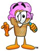 Ice Cream Cartoon Character Looking Through a Magnifying Glass clipart