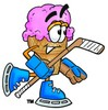 Ice Cream Cartoon Character Playing Ice Hockey clipart