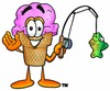 Ice Cream Cartoon Character Fishing clipart