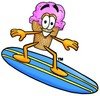 Ice Cream Cartoon Character Surfing clipart