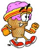 Ice Cream Cartoon Character Speed Walking clipart