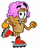 Ice Cream Cartoon Character Roller Blading clipart