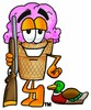 Ice Cream Cartoon Character Duck Hunting clipart