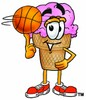 Ice Cream Cartoon Character Spinning a Basketball clipart