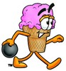 Ice Cream Cartoon Character Bowling clipart