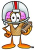 Ice Cream Cartoon Character Playing Football clipart
