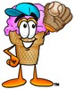 Ice Cream Cartoon Character Playing Baseball clipart