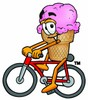 Ice Cream Cartoon Character Riding a Bike clipart